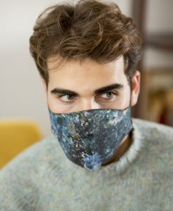 Men's cotton face mask in dark blue.