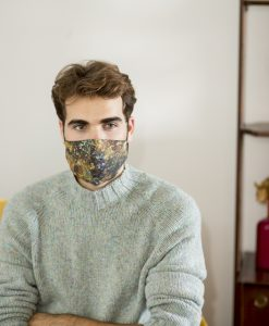 Men's cotton face mask in mustard & green.