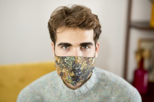 Men's cotton face mask in mustard & green.