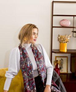 Burgundy silk wool women's scarf with fringe