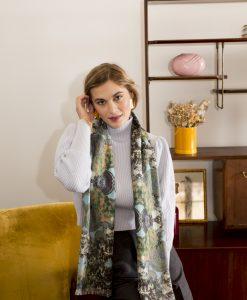 Cielo silk wool women's scarf with fringe