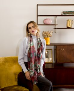 Cerceta silk wool women's scarf with fringe