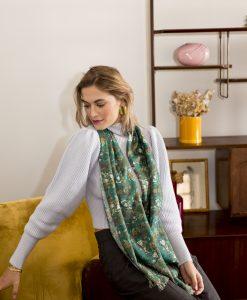 Verte silk wool women's scarf with fringe