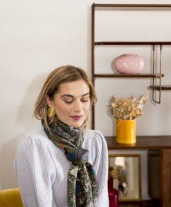 Denim silk wool women's scarf with fringe