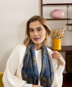 Dark Blue silk wool women's scarf with fringe