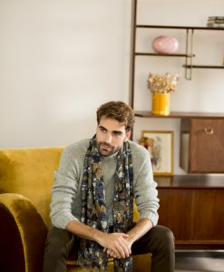 Nuit silk wool shawl for men.