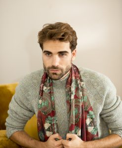 Cerceta silk wool shawl for men.