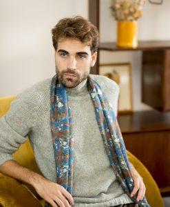 Mer silk wool shawl for men.
