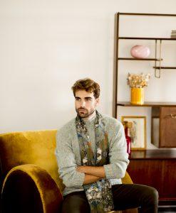 Denim silk wool shawl for men.