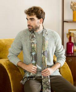 Cielo silk wool shawl for men.