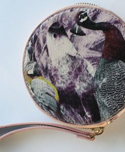 Pale pink bird print leather purse for women.