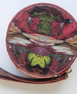Magenta bird print leather purse for women.