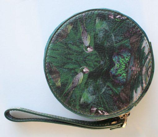 Green bird print leather purse for women.
