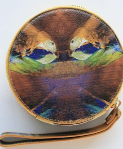 Mustard bird print leather purse for women.
