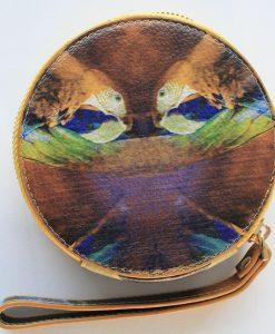 Mustard bird print leather purse for women.