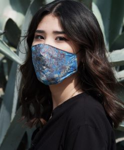 floral blue cotton mask