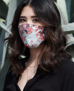light blue and red cotton mask