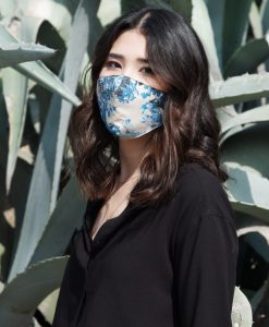 blue and beige cotton mask
