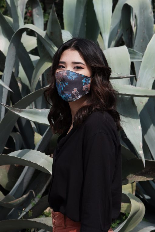 blue and black cotton mask