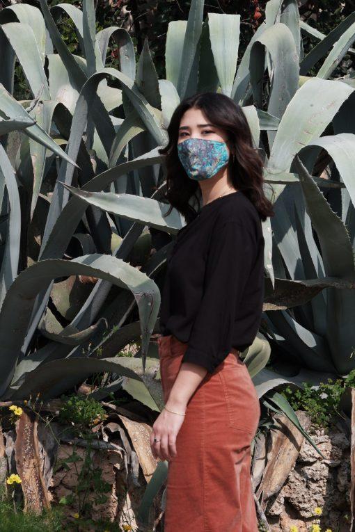 light blue floral cotton mask