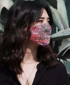 floral red cotton mask