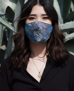 dark blue floral mask