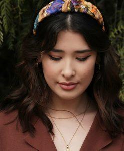 Light brown silk hairband