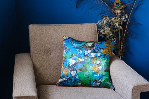 Blue cushion cover